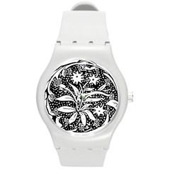 Decoration Pattern Design Flower Round Plastic Sport Watch (m)