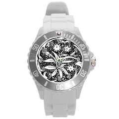 Decoration Pattern Design Flower Round Plastic Sport Watch (l)
