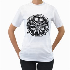 Decoration Pattern Design Flower Women s T Shirt (white)
