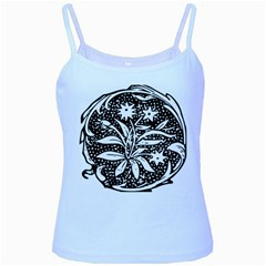 Decoration Pattern Design Flower Baby Blue Spaghetti Tank