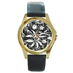 Decoration Pattern Design Flower Round Gold Metal Watch