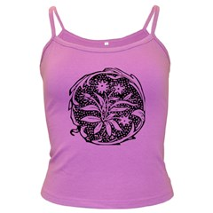 Decoration Pattern Design Flower Dark Spaghetti Tank