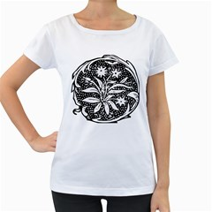 Decoration Pattern Design Flower Women s Loose Fit T Shirt (white)