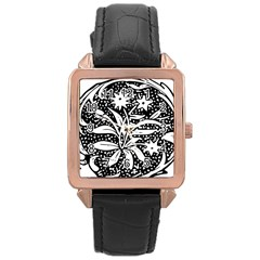 Decoration Pattern Design Flower Rose Gold Leather Watch