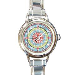 Drawing Mandala Art Round Italian Charm Watch