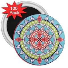 Drawing Mandala Art 3  Magnets (100 Pack)