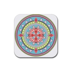 Drawing Mandala Art Rubber Square Coaster (4 Pack)