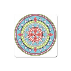Drawing Mandala Art Square Magnet