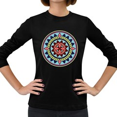 Drawing Mandala Art Women s Long Sleeve Dark T Shirts