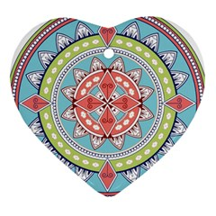 Drawing Mandala Art Heart Ornament (two Sides)