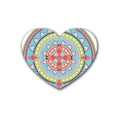 Drawing Mandala Art Heart Coaster (4 Pack)
