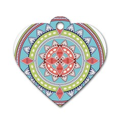 Drawing Mandala Art Dog Tag Heart (One Side)