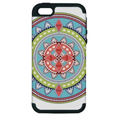 Drawing Mandala Art Apple Iphone 5 Hardshell Case (pc+silicone)