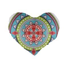 Drawing Mandala Art Standard 16  Premium Heart Shape Cushions