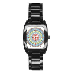 Drawing Mandala Art Stainless Steel Barrel Watch