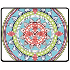 Drawing Mandala Art Double Sided Fleece Blanket (medium)