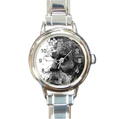 Grandfather Old Man Brush Design Round Italian Charm Watch