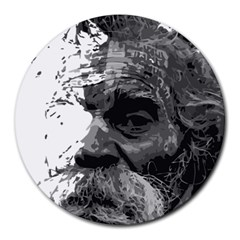 Grandfather Old Man Brush Design Round Mousepads