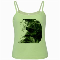 Grandfather Old Man Brush Design Green Spaghetti Tank