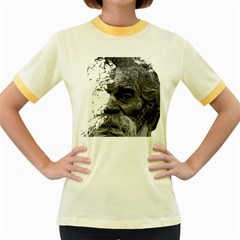 Grandfather Old Man Brush Design Women s Fitted Ringer T Shirts