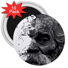 Grandfather Old Man Brush Design 3  Magnets (10 Pack)