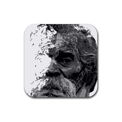 Grandfather Old Man Brush Design Rubber Square Coaster (4 pack)