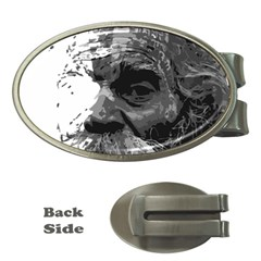 Grandfather Old Man Brush Design Money Clips (Oval)