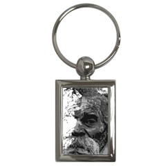Grandfather Old Man Brush Design Key Chains (Rectangle)