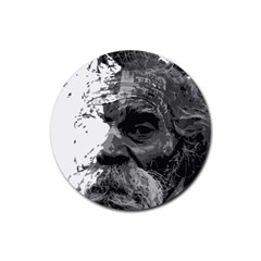 Grandfather Old Man Brush Design Rubber Coaster (round)