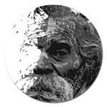 Grandfather Old Man Brush Design Magnet 5  (Round) Front