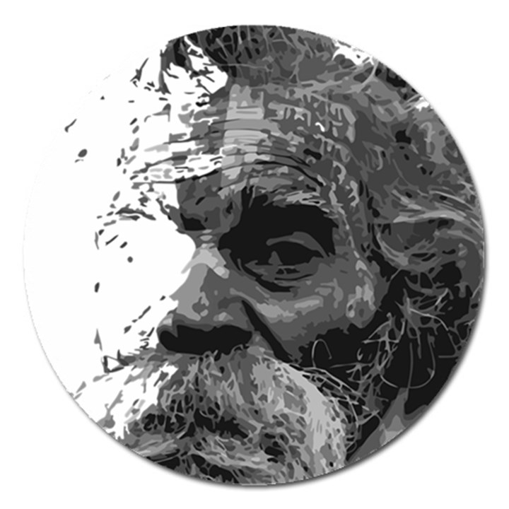Grandfather Old Man Brush Design Magnet 5  (Round)