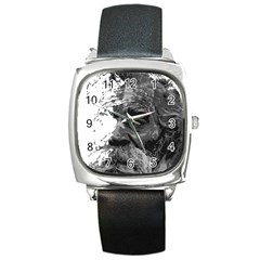 Grandfather Old Man Brush Design Square Metal Watch