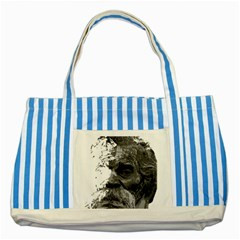 Grandfather Old Man Brush Design Striped Blue Tote Bag