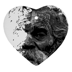 Grandfather Old Man Brush Design Heart Ornament (two Sides)