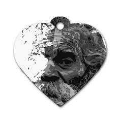 Grandfather Old Man Brush Design Dog Tag Heart (one Side)
