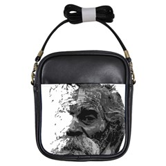 Grandfather Old Man Brush Design Girls Sling Bags