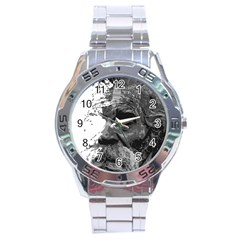 Grandfather Old Man Brush Design Stainless Steel Analogue Watch