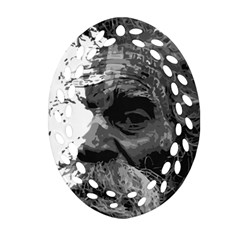 Grandfather Old Man Brush Design Oval Filigree Ornament (two Sides)