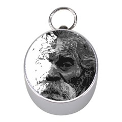 Grandfather Old Man Brush Design Mini Silver Compasses