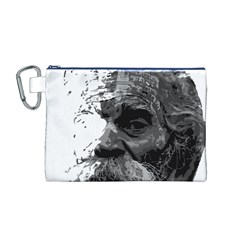 Grandfather Old Man Brush Design Canvas Cosmetic Bag (m)