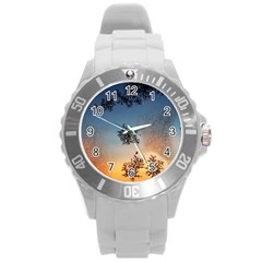 Hardest Frost Winter Cold Frozen Round Plastic Sport Watch (l)