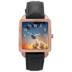 Hardest Frost Winter Cold Frozen Rose Gold Leather Watch