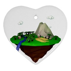 Low Poly 3d Render Polygon Ornament (heart)