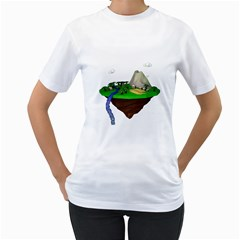 Low Poly 3d Render Polygon Women s T Shirt (white) (two Sided)