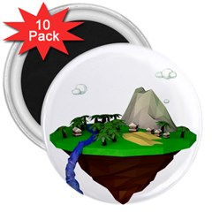 Low Poly 3d Render Polygon 3  Magnets (10 Pack)