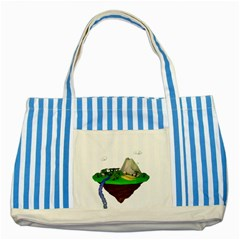 Low Poly 3d Render Polygon Striped Blue Tote Bag