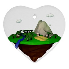 Low Poly 3d Render Polygon Heart Ornament (two Sides)