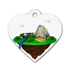 Low Poly 3d Render Polygon Dog Tag Heart (two Sides)