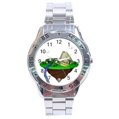 Low Poly 3d Render Polygon Stainless Steel Analogue Watch