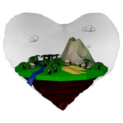 Low Poly 3d Render Polygon Large 19  Premium Flano Heart Shape Cushions